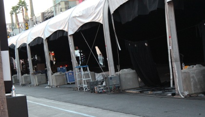 Tents being set up for the premiere